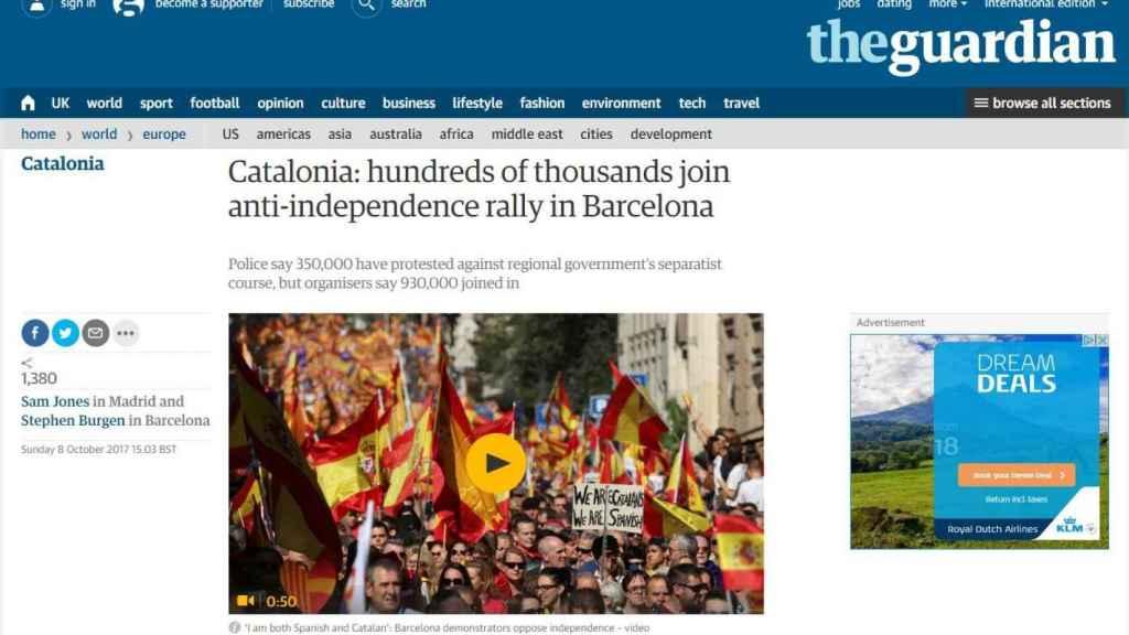 Portada de la edición digital de The Guardian.