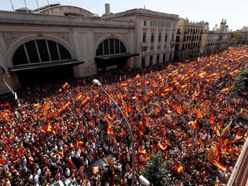 Imagen cenital de la manifestación a la altura de la Estación de Francia.