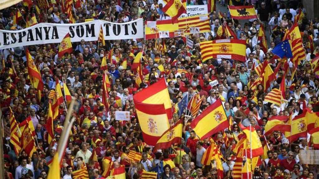 La manifestación a favor de la unidad en Barcelona.