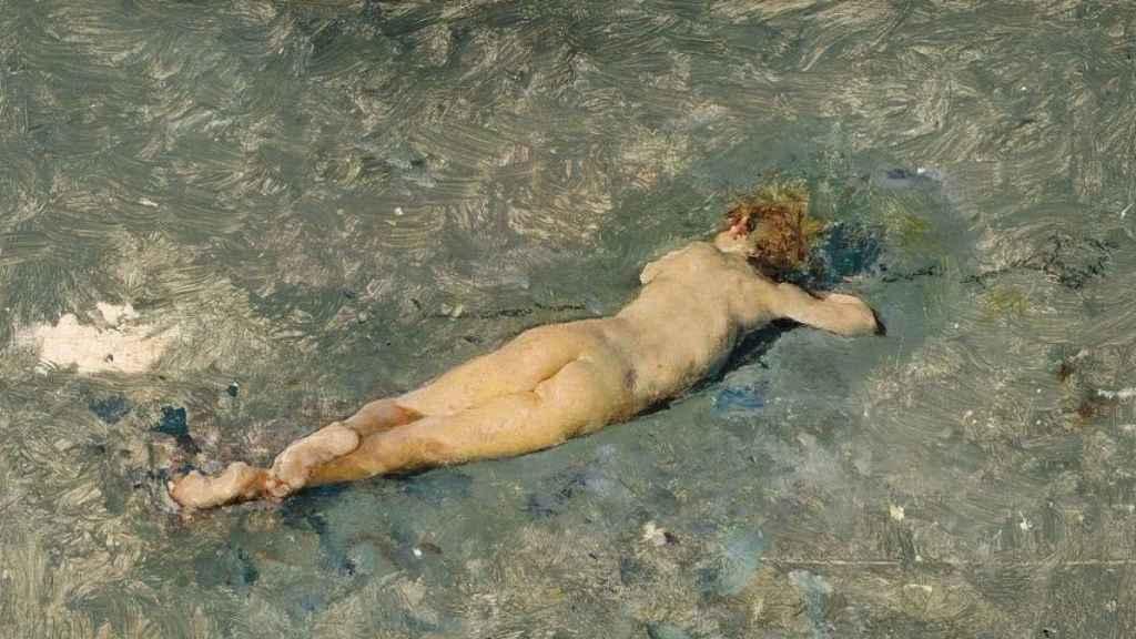 Desnudo en la playa de Portici, pintado en 1874, en el Museo del Prado.
