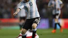 Messi, en el último partido de Argentina ante Perú.
