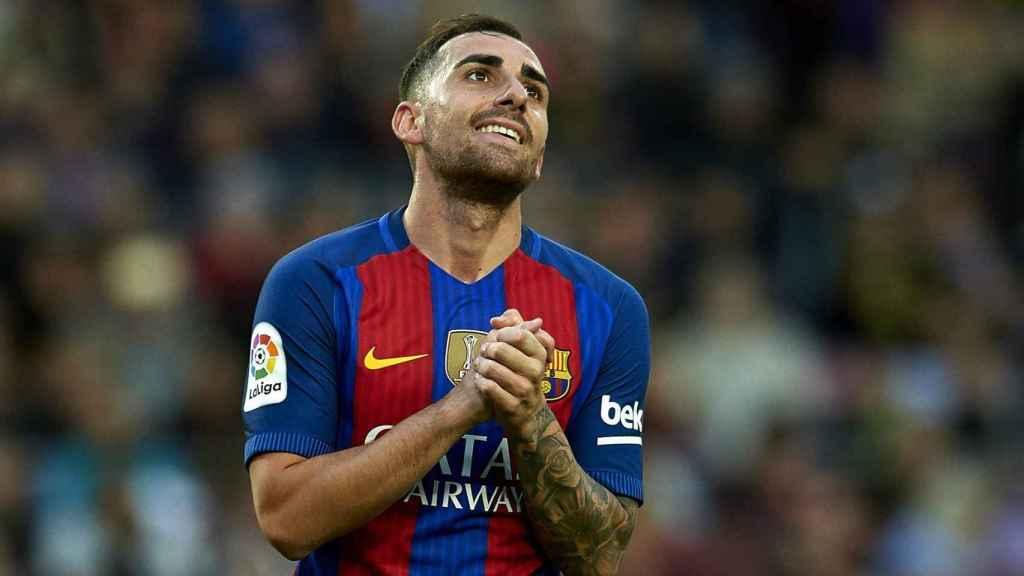 Paco Alcácer en un partido con el Barcelona.