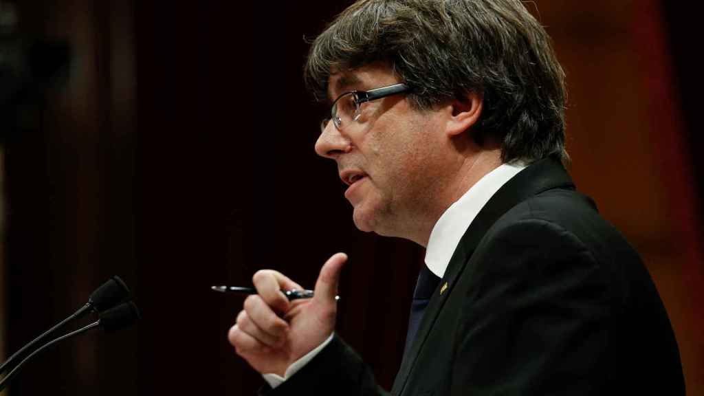 Puigdemont, durante su intervención.
