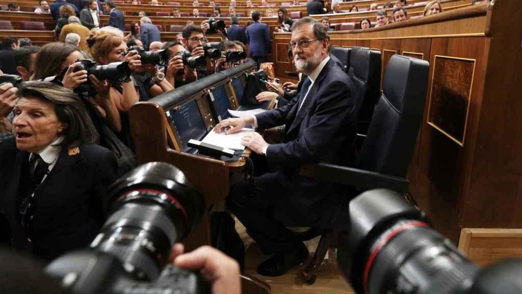 Rajoy, antes de su intervención en el Congreso