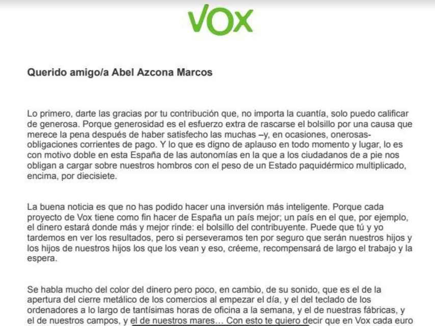 Carta de bienvenida de VOX a Abel Azcona.