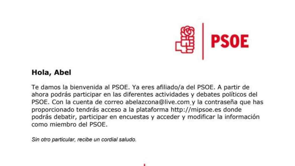 Carta de bienvenida a Abel Azcona del PSOE.