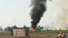 Imagen del accidente del eurofighter en Los Llanos.
