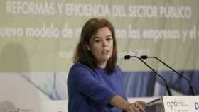 Soraya Sáenz de Santamaría durante la presentación de la Ley de Transparencia.