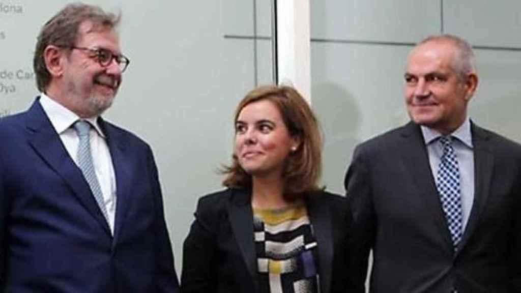 La vicepresidenta del Gobierno, Soraya Sáenz de Santamaría, este martes en Moncloa.