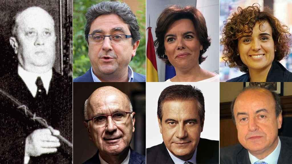 Juan Pich y Pon (izquierda). Y de izquierda a derecha, de arriba a abajo: Milló, Sáenz de Santamaría, Montserrat, Duran i Lleida, Corbacho y Barrientos.