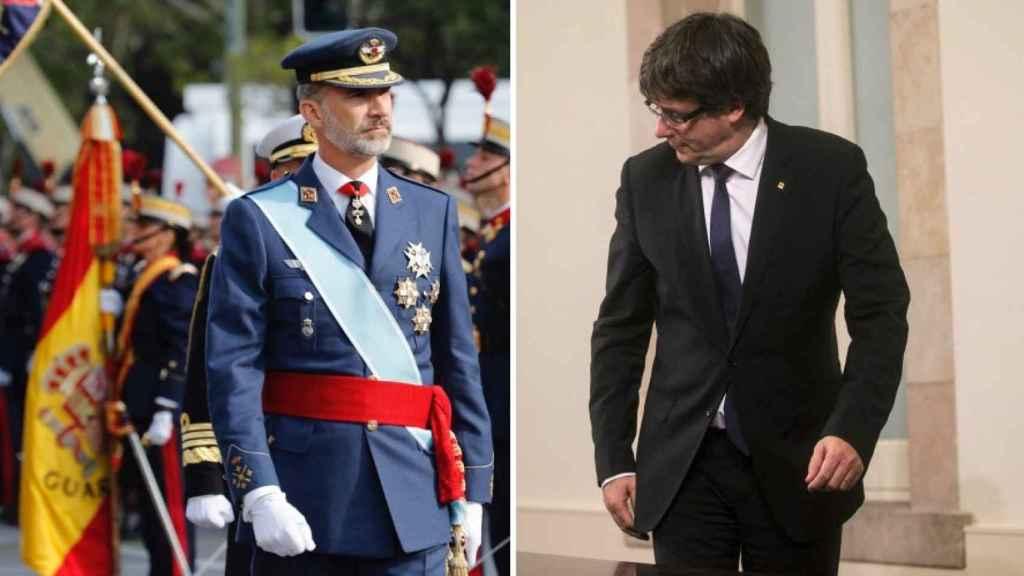 El rey, el día de la Fiesta Nacional, y Puigdemont, tras su última declaración en el Parlament.
