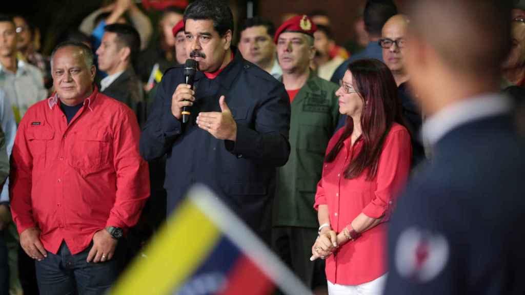 Nicolás Maduro tras anunciar los resultados de los comicios