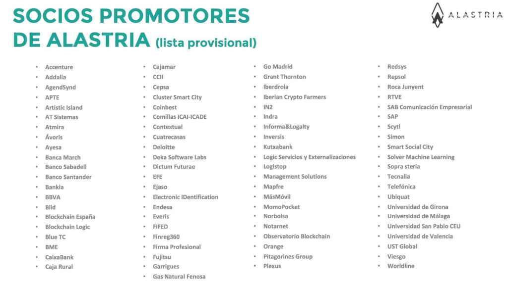 Lista provisional de los socios promotores de Alastria.