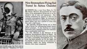 Un recorte de un periódico en inglés de la época junto a una foto de Emilio Herrera.