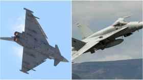 Un  Eurofighter y  un F-18, los dos modelos de caza accidentados en la última semana