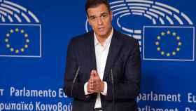 Pedro Sánchez, durante su comparecencia en la Eurocámara
