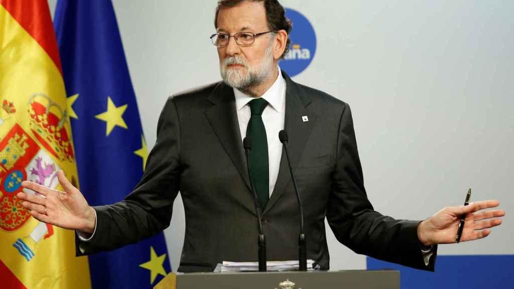 El presidente Rajoy, durante su rueda de prensa en Bruselas