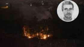 Imagen del incendio del pasado lunes. En la foto, Jose María, el autor de los seis fuegos.