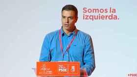 Sánchez, en su discurso ante los socialistas murcianos en Cartagena, este sábado.