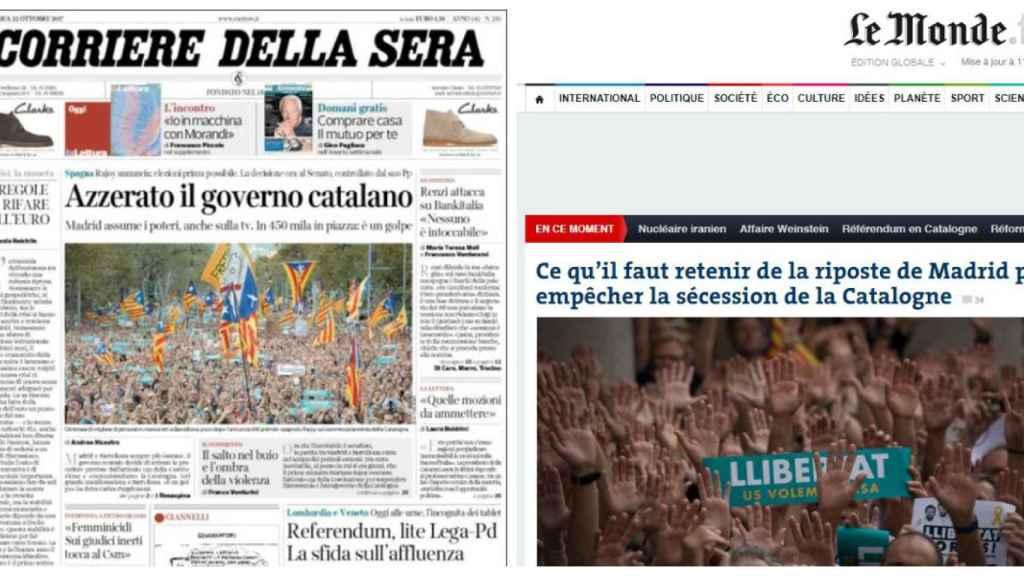Portadas Corriere della Sera y Le Monde.