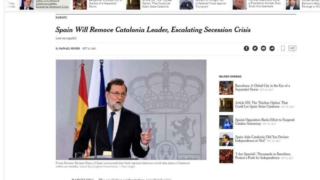 Artículo en la edición digital de The New York Times.