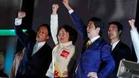 Shinzo Abe en un mitín durante la campaña de las elecciones japonesas