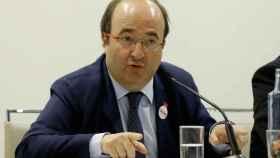 Miquel Iceta, este martes en una conferencia en el club Siglo XXI de Madrid.