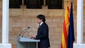 Carles Puigdemont, durante su comparecencia.