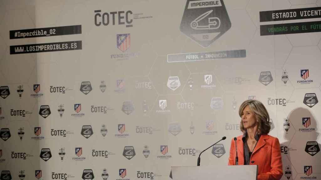 Cristina Garmendia, durante una charla como presidenta de Cotec