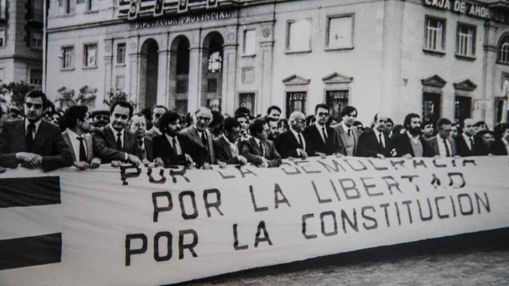 Manifestación en los años 70 en la que participaron distintos diputados, incluido el propio Clavero.
