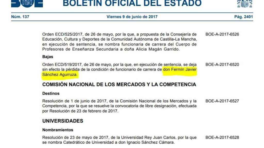 El BOE en el que se informa de la reincorporación de Sánchez Agurruza.