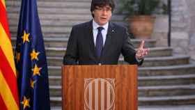El expresidente de la Generalitat, Carles Puigdemont, este sábado en Girona.