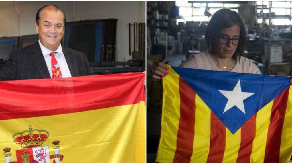 En las fábricas de banderas se está viviendo un 'boom' con la crisis catalana.
