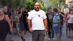 Fermín Sánchez, en una manifestación reciente contra la Guardia Civil en Exarri-Aranatz.