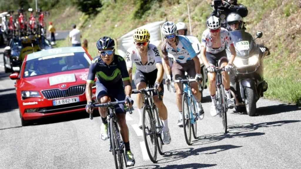 Nairo Quintana y Mikel Landa, detrás de él, en el último Tour de Francia.