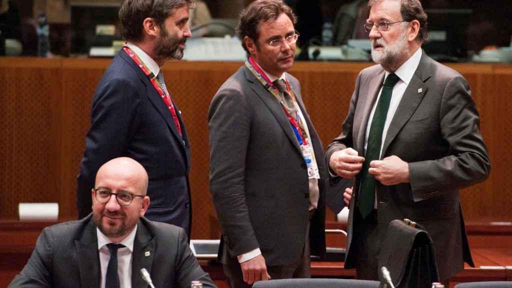 El primer ministro belga, Charles Michel, y el presidente Rajoy durante la última cumbre de la UE