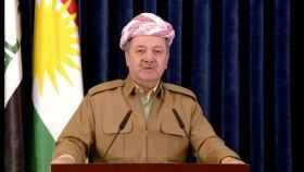El presidente kurdo Barzani, en su discurso por televisión.