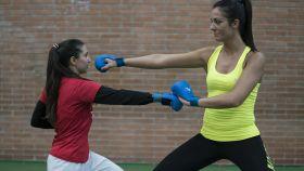 Rocío Sánchez y Cristina Vizcaíno realizan movimientos durante el entrenamiento / Silvia Pérez