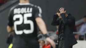 Simeone se echa las manos a la cabeza durante el partido ante el Qarabag.