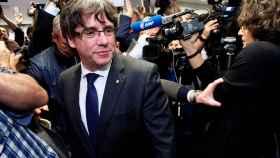 Carles Puigdemont a su llegada a la rueda de prensa que ha ofrecido en el 'Press Club Brussels'