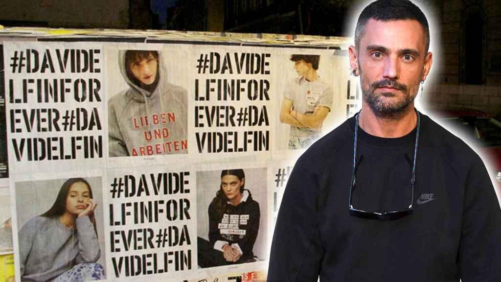 Uno de los carteles en homenaje al diseñador.