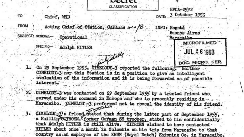 Fragmento del informe de la CIA.