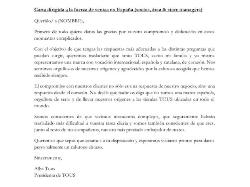 El comunicado interno emitido por Alba Tous.