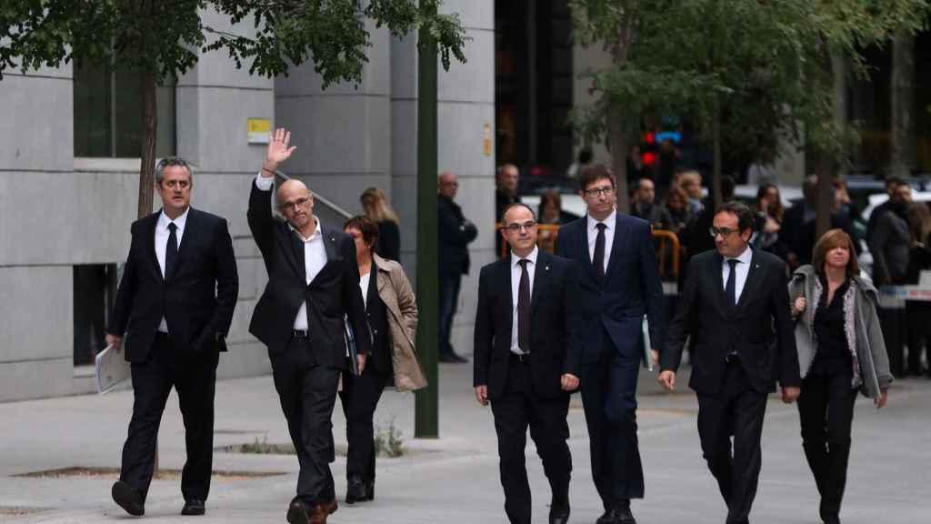 Los consejeros de Puigdemont llegando a la Audiencia Nacional el jueves