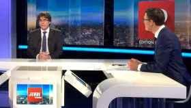 Puigdemont, durante su entrevista con la televisión belga del viernes