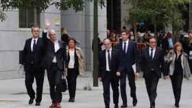 Los exconsejeros del Gobierno de Puigdemont a su llegada a la Audiencia Nacional.