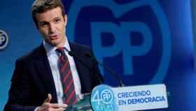 El vicesecretario de Comunicación del PP, Pablo Casado, este lunes en Génova.