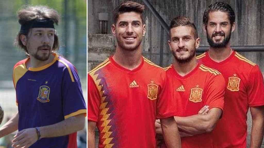 Iglesias con una camiseta republicana y el nuevo atuendo de la Selección.