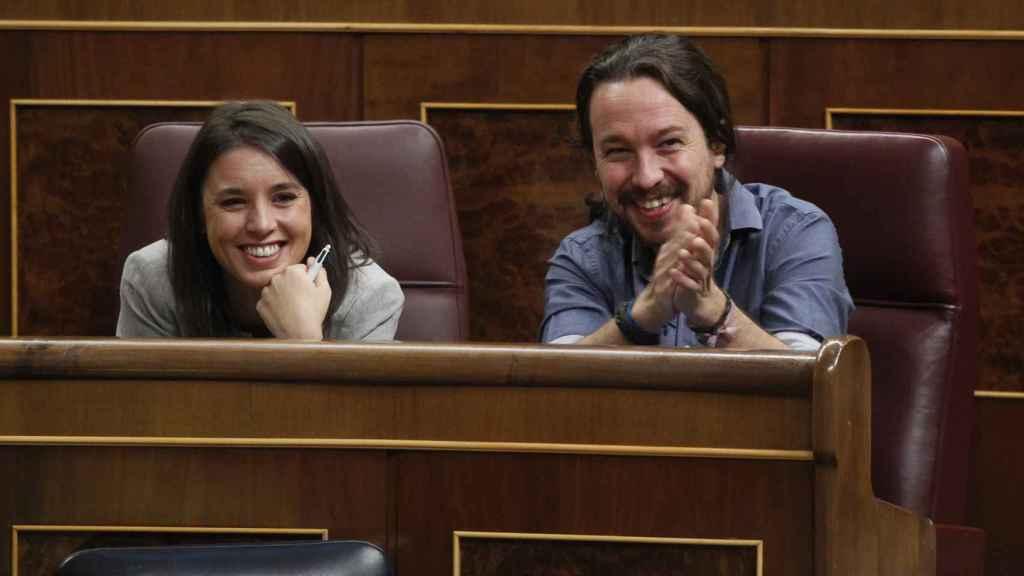 Irene Montero y Pablo Iglesias en la última sesión ordinaria del Congreso.