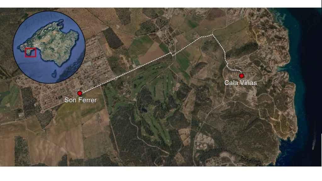 Recorrido que debía seguir Malén entre la casa de su padre, en Cala Viñas, y la de su novio, en Son Ferrer.